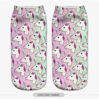 hot sale New 3D printed unicorn  Multicolor pink cotton ombre womens socks low cut korean  socks