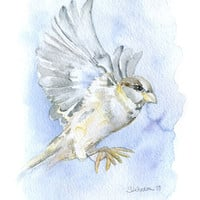 Sparrow Watercolor Greeting Card - Blank Encouragement Card 5x7