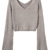 Gray V-neck Long Sleeve Cropped Knit Jumper