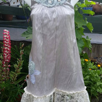 Up cycled summer dress-Size medium-Roses-Festival clothing-Repurposed fashion-Teen-Gypsy-Party-Cocktail-Casual-Silver and lace-Bohemian