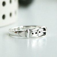 Ring Sterling Ring .925 Silver Ring Personalized Ring Belt Shape