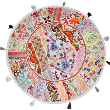 """White 22"""" Decorative Round Floor Pillow Cushion round embroidered Bohemian Patchwork floor cushion pouf Vintage Indian Foot Stool Bean Bag"""