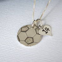 Hand-Stamped Soccer Necklace- Soccer Ball Necklace with Number for Mom or Player