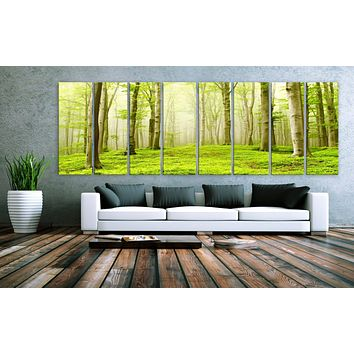 """XXLARGE 30""""x 96"""" 8 Panels Art Canvas Print beautiful Nature Forest Scenery Trees Wall Home Office Decor interior (Included framed 1.5""""depth)"""