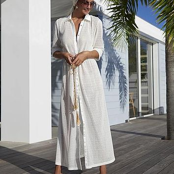 Blouse Mesh Hollow Out Holiday Solid Turn Down Collar Solid Beach Dress