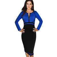 Vfemage Womens Elegant Colorblock Front Zipper Wear to Work Business Casual Office Party Sheath Pencil Bodycon Dress 1150