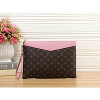 LV Louis Vuitton Trending Women Men Stylish Monogram Leather Office Bag Zipper Wallet Purse Handbag Pink I-MYJSY-BB