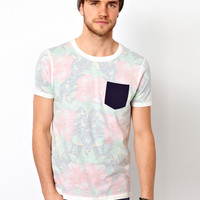 ASOS T-Shirt With All Over Flower Print And Contrast Pocket
