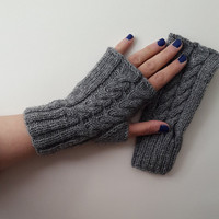 Gray,Knitted gloves, hand knitted, knitted, gloves