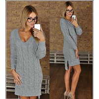 Fashion V-neck knit sweater dress-1