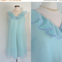25% OFF aqua & lilac trim vintage 1950s ultra sheer nylon chiffon babyoll nightie lingerie // dolly peignor nightgown slip // size M 36 bust