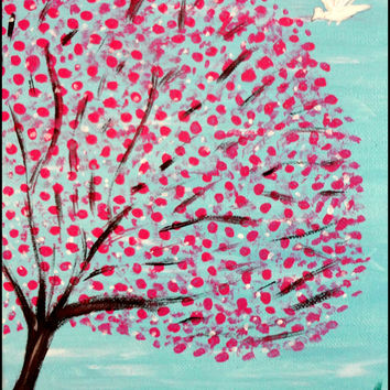 New year gift sale Pink Blossoms Cherry blossom Pink flowers White dove Tree of life art Aqua background Blue sky Lovers gift