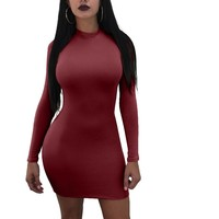 Plain Bodycon Dress with Sleeves