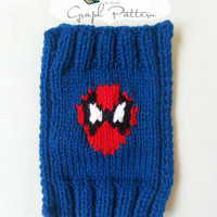 GRAPH PDF KNITTING PATTERN: Red Spider Man Grid Pattern to Use When Knitting Small to Large Projects