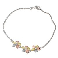 """YELLOW ROSE GOLD SILVER 925 RHODIUM TRICOLOR HAWAIIAN 3 PLUMERIA ANKLET ROPE 9"""""""