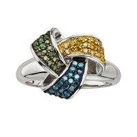 Sterling Silver 1/2-ct. T.W. Blue, Yellow & Green Diamond Love Knot Ring (Blue/Green/Yellow)