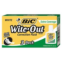BIC® Wite-Out Extra Coverage Correction Fluid, 20 ml Bottle, White, 3/Pack