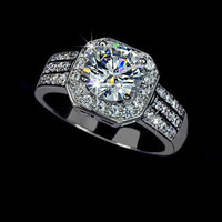 White Gold plated 2 carat Swiss Cubic Zirconia with micro Swiss CZ paved Halo Engagement Rings = 1932146628