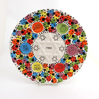Passover,  Seder Plate, Ceramic, Judaica Passover tabletop, Star of David, multi colored with polka dots, Spring celebrations, one of a kind