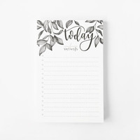 Botanical To Do Notepad | Daily Planner Notepad with Hand Illustration and Calligraphy, To Do List Notepad