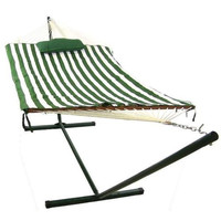 Rope Hammock With Stand Combo Green & White Stripes Includes Pad And Pillow