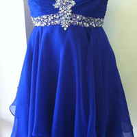 Royal Blue Short Beadings Short Prom Dresses Homecoming Dresses