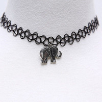 Handmade Vintage Tattoo Gothic Choker Necklace with Lucky Elephant Pendant