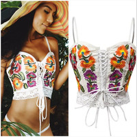 Embroidery Flower Hollow Fashion Strap Vest Tank Top Cami