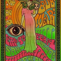 Bob Weir of The Grateful Dead Psychedelic rock poster