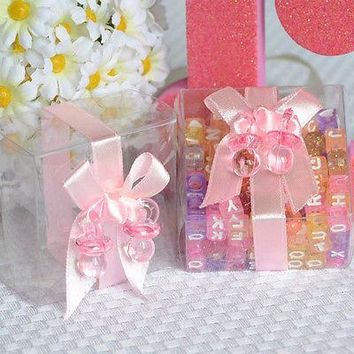 6 Clear Baby Shower Favor Boxes with Pink Ribbon and Pacifier