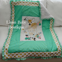 Woodland Deer Crib Blanket with Mint, Pink and Gold Cotton Picture Frame. Fast Shipping!