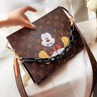 LV Louis Vuitton Women Retro Leather Mickey Mouse Print Handbag Tote Crossbody Satchel Shoulder Bag