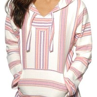 Mexican Womens Baja Hoodie Sweater Jerga Pullover Pink Purple White