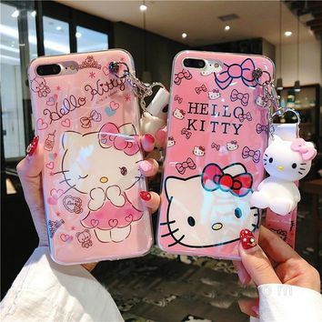 For iPhone 8 8plus Hello kitty case, Cute KT Soft back cover For iPhone X 7 7plus 6 6S 6Pplus phone cover + toy stander +Strap
