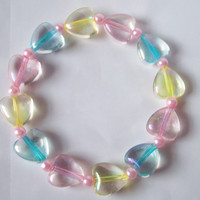 Fairy Sugar - Pastel Rainbow Iridescent Hearts Stretch Bracelet with Pink Glass Pearls