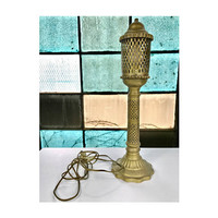 Vintage Cut Out Etched Brass Lamp Electric Lantern Desk Lamp Table Top Lamp Gold Lamp Indian Brass Boho Bohemian Moroccan Sconce  Trellis
