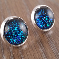 Glitter glass earrings- Deep ocean glitter glass silver tone stud druzy earrings