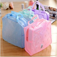 Casual Zipper Cosmetic Case Floral Print Transparent Waterproof Makeup Make up Cosmetic Bag Toiletry Bathing Pouch