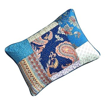 Tache Cotton Patchwork Paisley Bohemian Night Flower Pillow Sham (JHW-882)