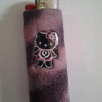Purple and Pink Spiral Hello kitty lighter case