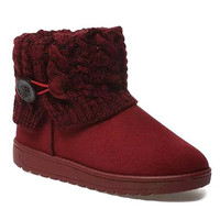 Snow Boots With Knitting and Button Design