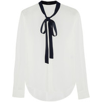 Donna pussy-bow silk blouse