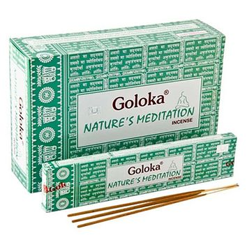 Goloka Nature's Meditation Incense - 15 Gram Pack (12 Packs Per Box)