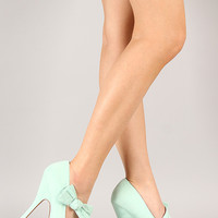Qupid Onyx-170 Suede Bow Mary Jane Stiletto Pump