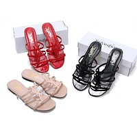 Wearwinds YSL  new classic patent leather word with metal buckle open toe fashion flat female slippers shoes