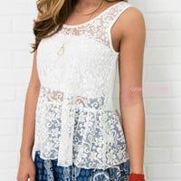 Pep In Your Step Ivory Floral Lace Peplum Top