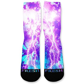 Aurora Tie Dye Storm Custom Athletic Fresh Socks