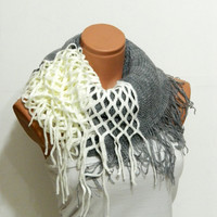 Valentine Day Gift,knitting machine infinity Scarf Block Infinity Scarf. Loop Scarf, Circle Scarf, Neck Warmer. White and grey infinity