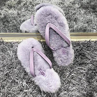 Ugg Fashion Women Casual Wool Flip-flops Wool Wool Outside The Foot Clip Sandals Shoes