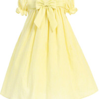 Yellow Striped Cotton Seersucker Spring Dress with Poly Silk Trim (Baby Girls 3 - 24 months )